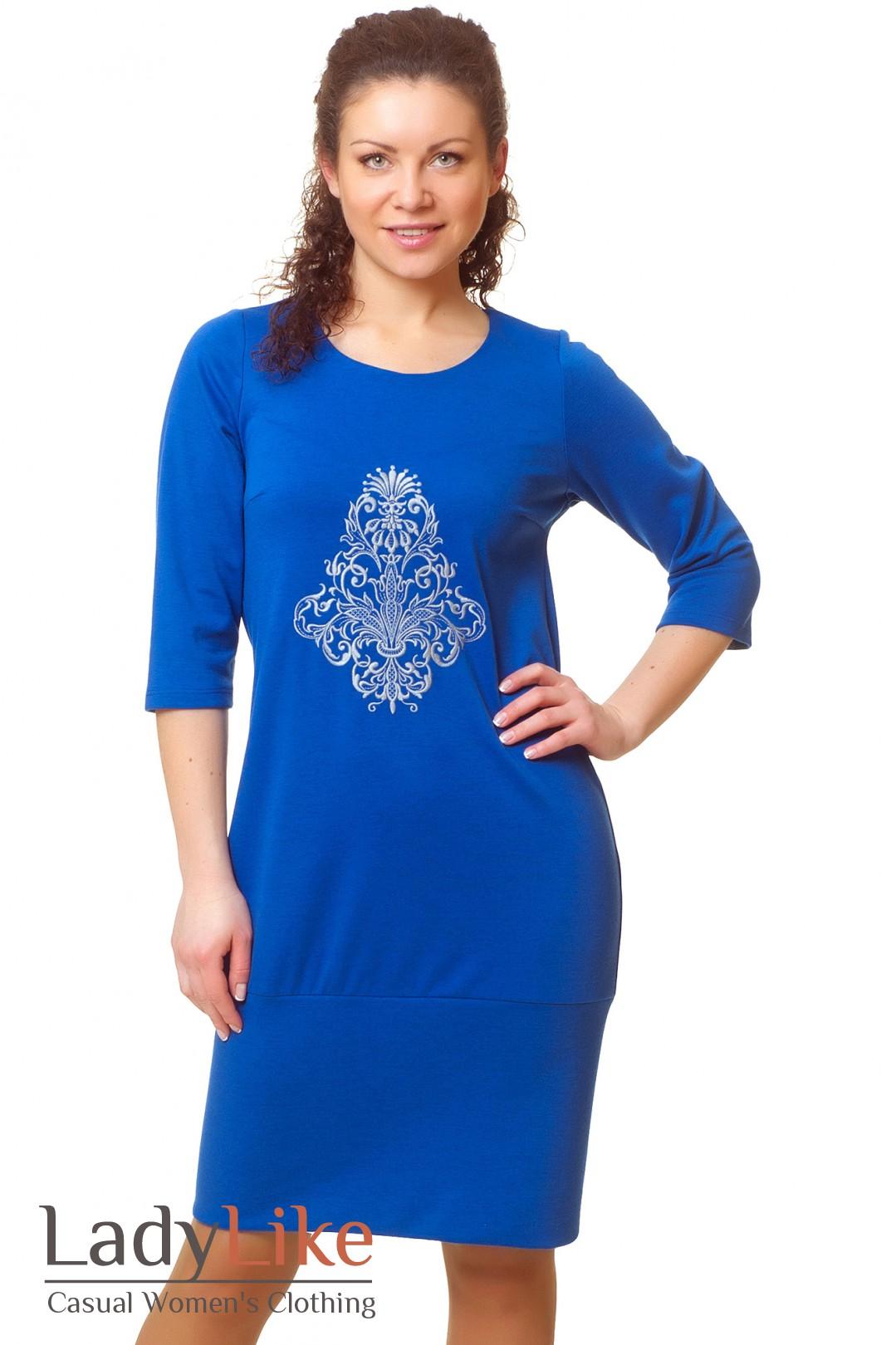 Платье с вышивкой синее 71