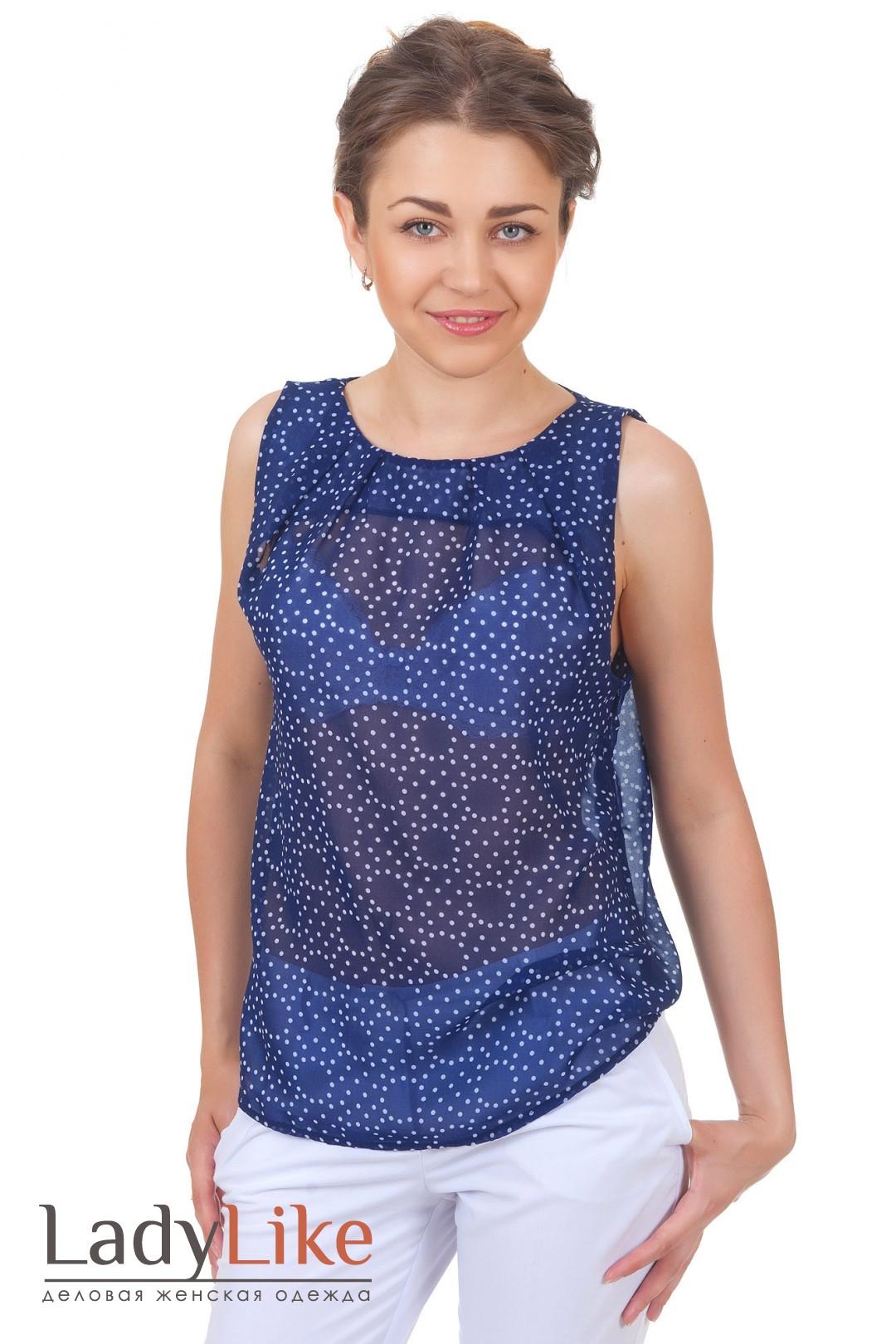 Блузка синяя в белый горошек купить в