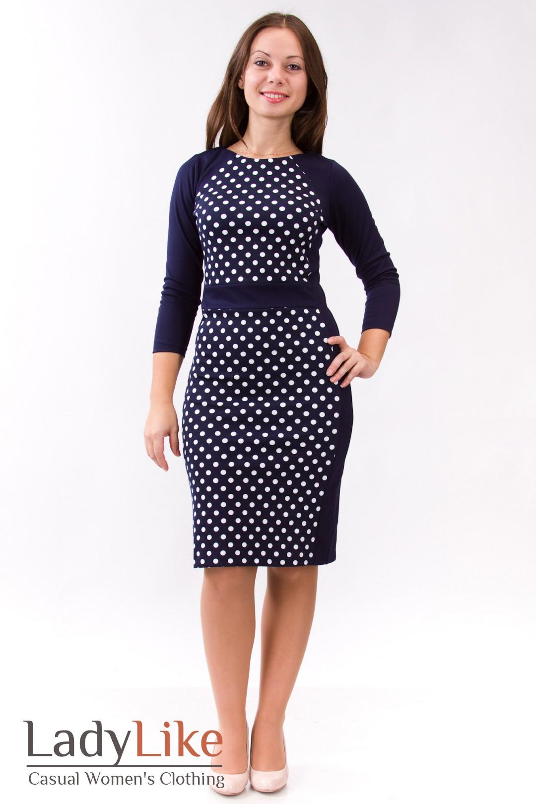 Платье синее в горошек интернет магазин