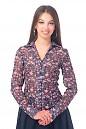 Блузка синяя в розовые розы Деловая женская одежда