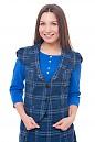 Жилетка синяя в черную клетку Деловая женская одежда фото