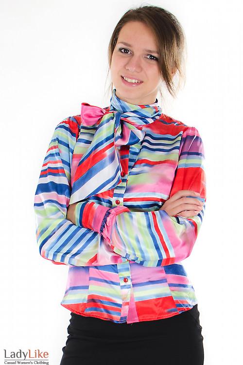 Блузка атласная разноцветная Деловая женская одежда.