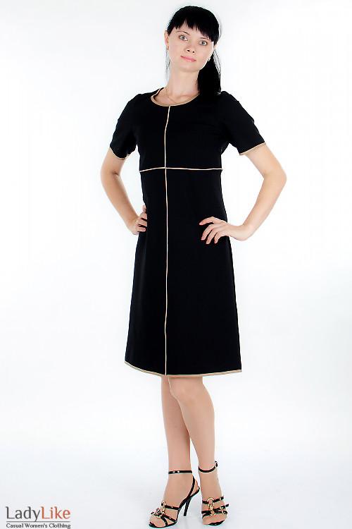 Платье черное трикотажное Деловая женская одежда.