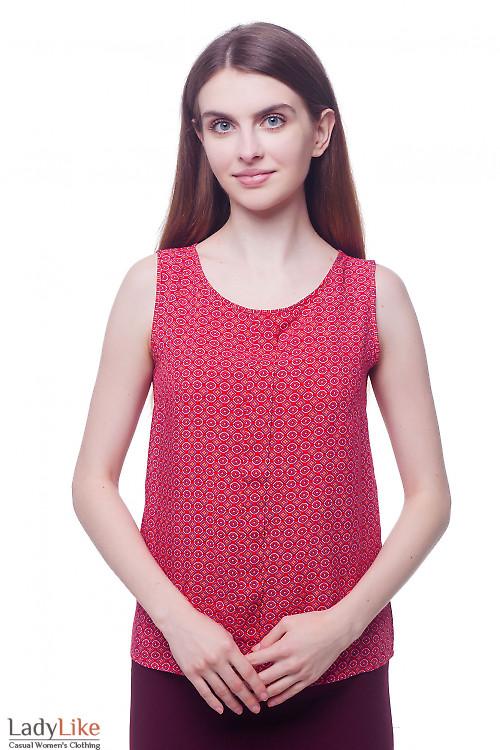 Топ красный с бантовой складкой Деловая женская одежда фото