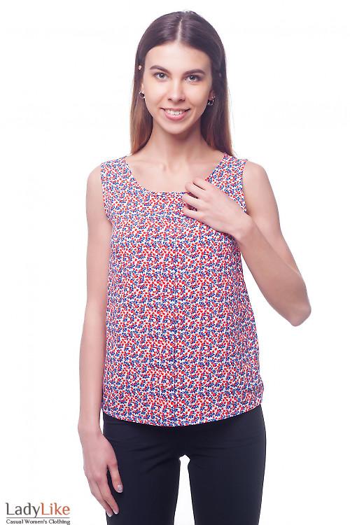 Яркий топ в оранжево-синий цветок Деловая женская одежда фото
