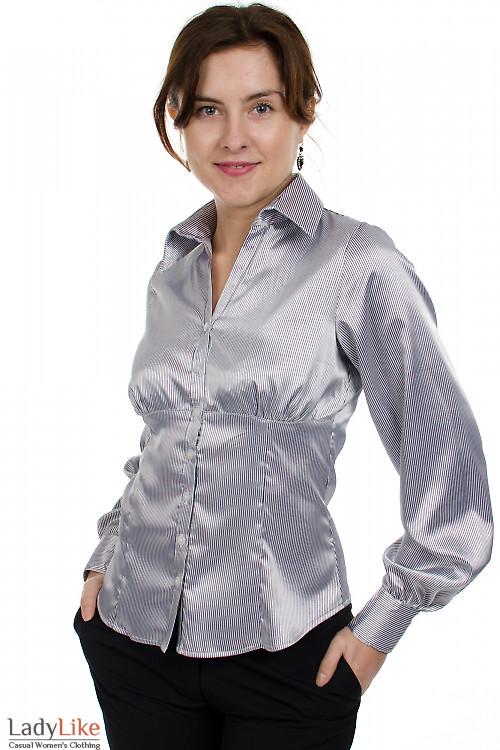 Блузка атласная в полоску Деловая женская одежда.