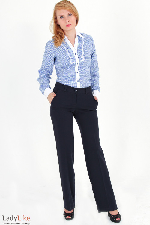 Фото Брюки классические темно-синие Деловая женская одежда