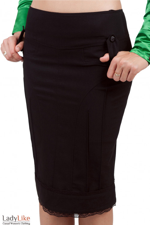 Фото Юбка-карандаш с кружевом Деловая женская одежда