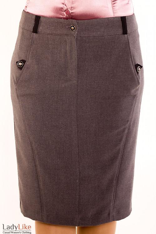 Фото Юбка серая теплая зауженная Деловая женская одежда