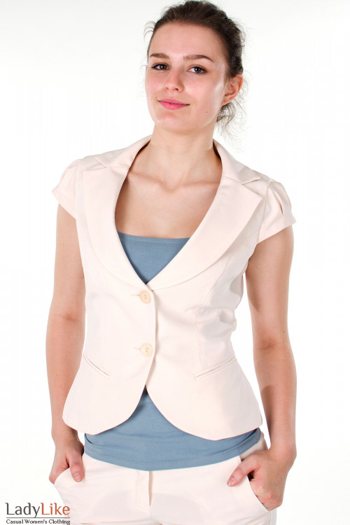 Фото Жилетка бежевая с круглым вырезом Деловая женская одежда