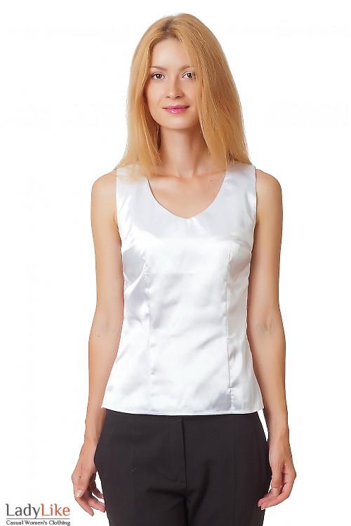 Блузка белая с глубоким декольте Деловая женская одежда