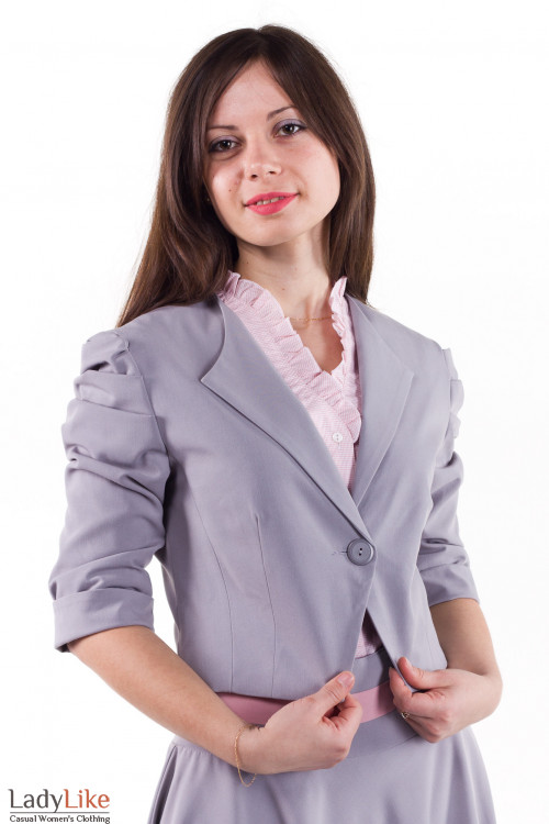 Фото Жакет со сборкой на рукаве серый Деловая женская одежда