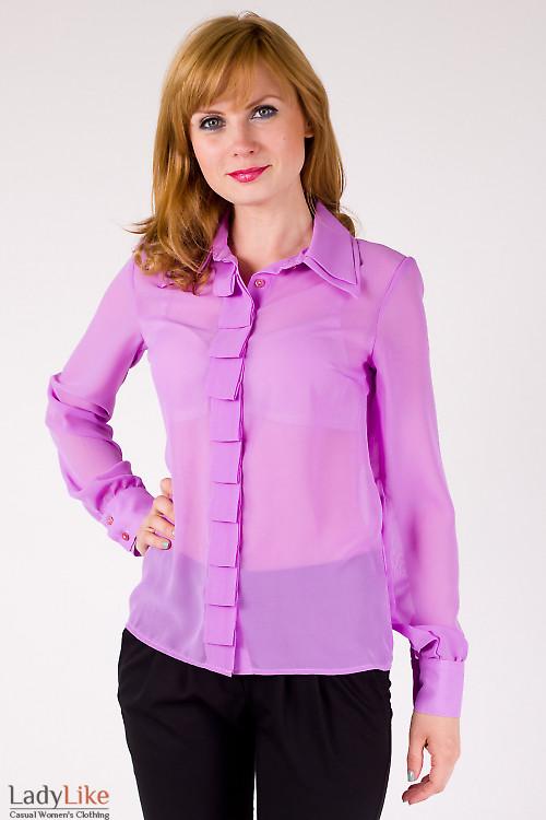 Фото Блузка сиреневая со складочками Деловая женская одежда