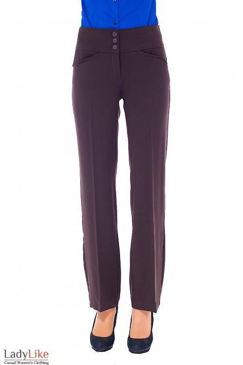 Купить брюки коричневые с высокой талией Деловая женская одежда