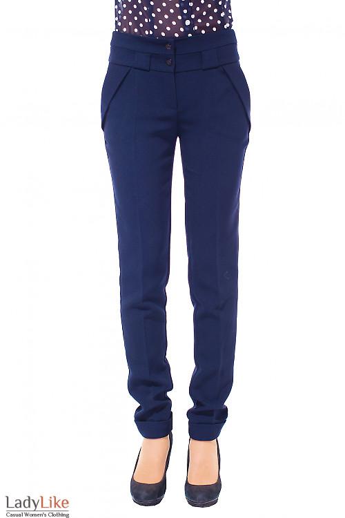 Купить брюки женские синие теплые Деловая женская одежда