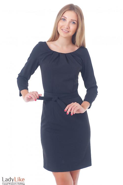 Платье черное с защипами и длинным рукавом Деловая женская одежда