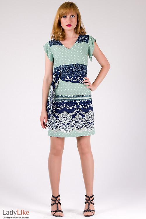 Фото Платье летнее зеленое в горошек Деловая женская одежда