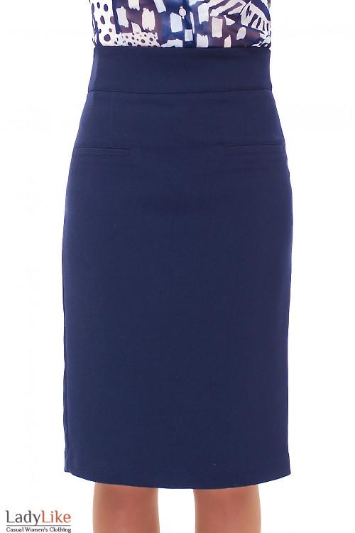 Купить синюю удлиненную теплую юбку  Деловая женская одежда