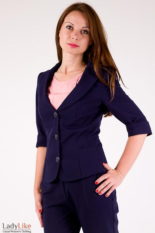 Фото Жакет синий с рукавом в три четверти Деловая женская одежда