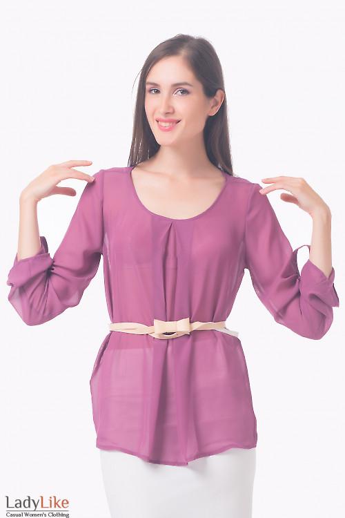 Блуза сиреневая с защипом Деловая женская одежда