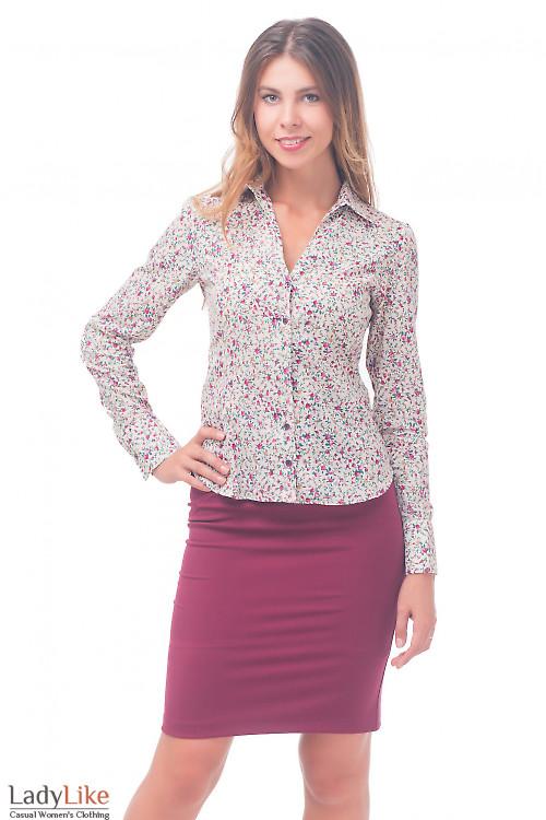 Блузка бежевая в мелкий цветочек Деловая женская одежда