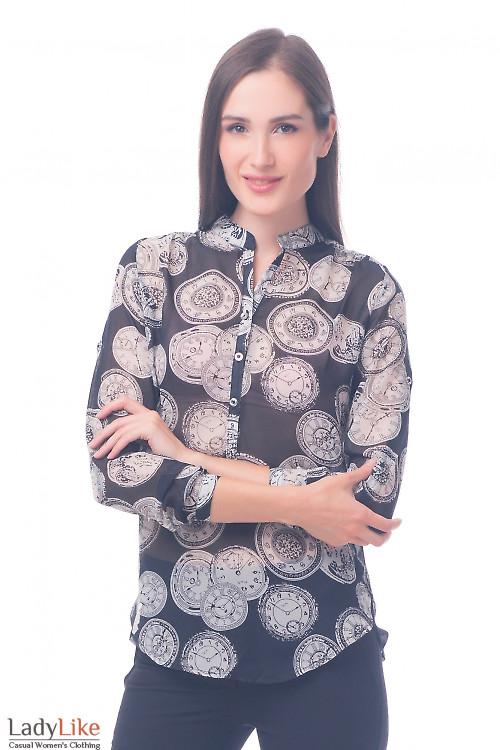 Фото Блузка черная в белые часики Деловая женская одежда