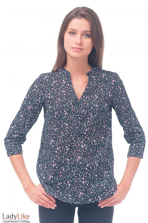 Блузка черная в мелкий розовый цветочек Деловая женская одежда