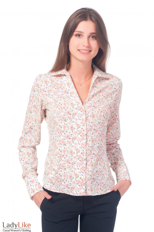 Блузка молочная в розовые цветочки Деловая женская одежда