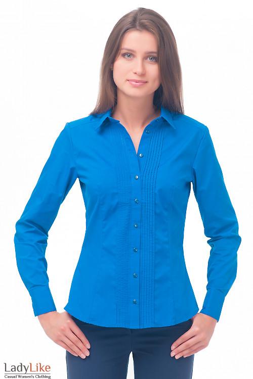Блузка синяя с тонкими защипами Деловая женская одежда