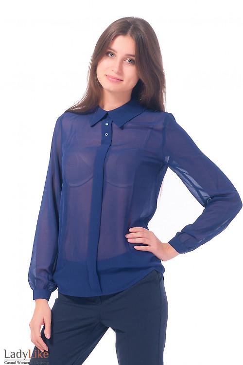 Блузка темно-синяя с планочкой Деловая женская одежда