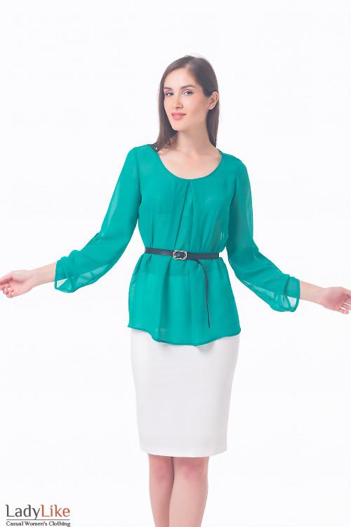 Блузка зеленая с защипами Деловая женская одежда