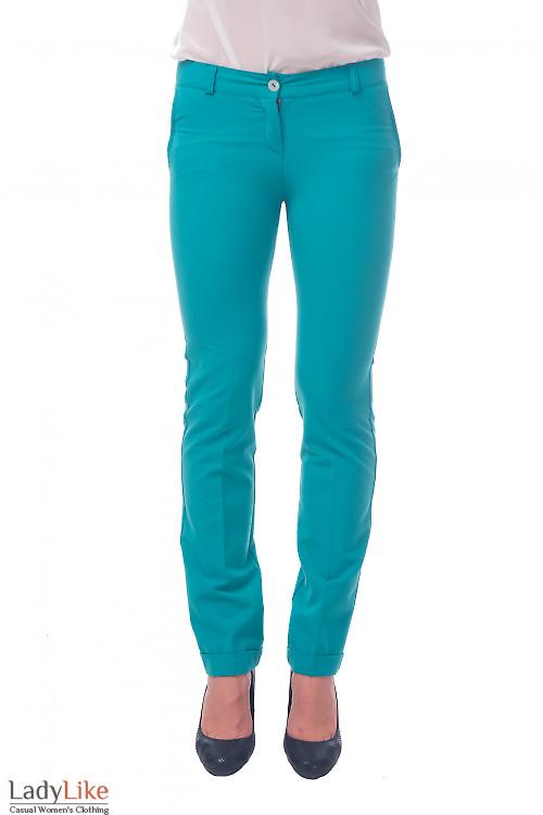 Фото Брюки с манжетой мятного цвета Деловая женская одежда