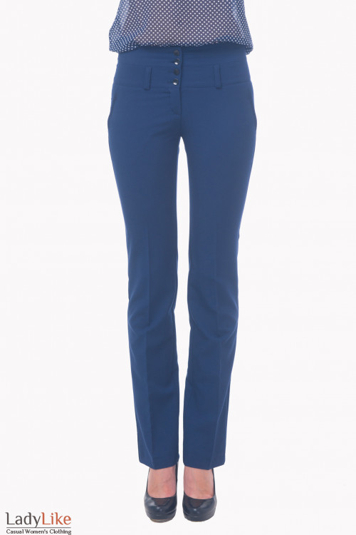 Фото Брюки синие с завышенной талией Деловая женская одежда