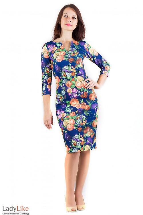 Фото Платье трикотажное синее в цветы Деловая женская одежда