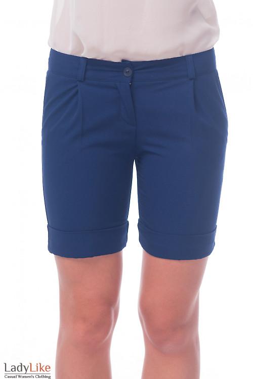 Фото Шорты короткие синие Деловая женская одежда