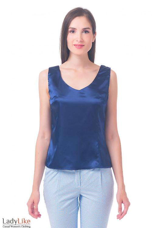 Топ синий с глубоким декольте Деловая женская одежда