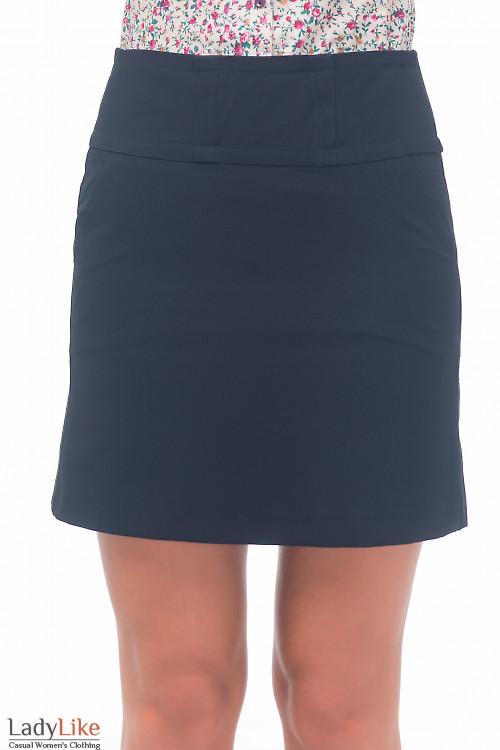 Юбка-трапеция черная с карманами Деловая женская одежда