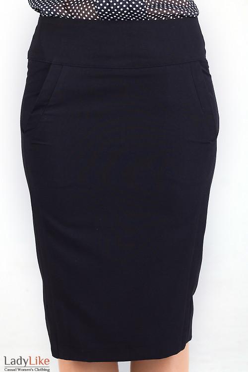 Фото Юбка черная с карманами Деловая женская одежда