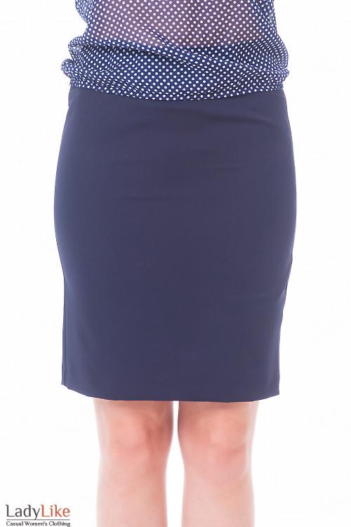 Юбка темно-синяя со строчкой на поясе Деловая женская одежда