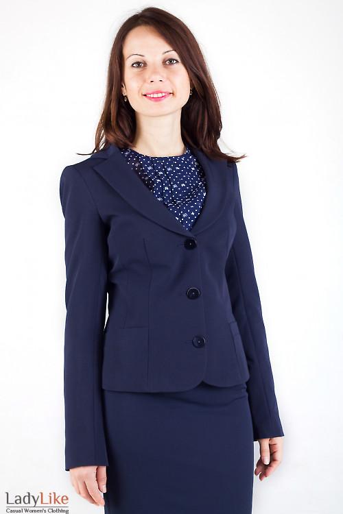Фото Жакет синий приталенный Деловая женская одежда