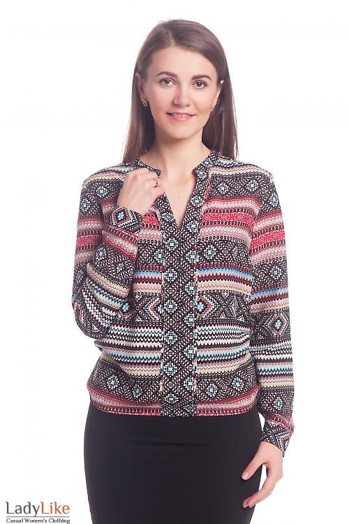 Блузка разноцветная с широкой планкой Деловая женская одежда