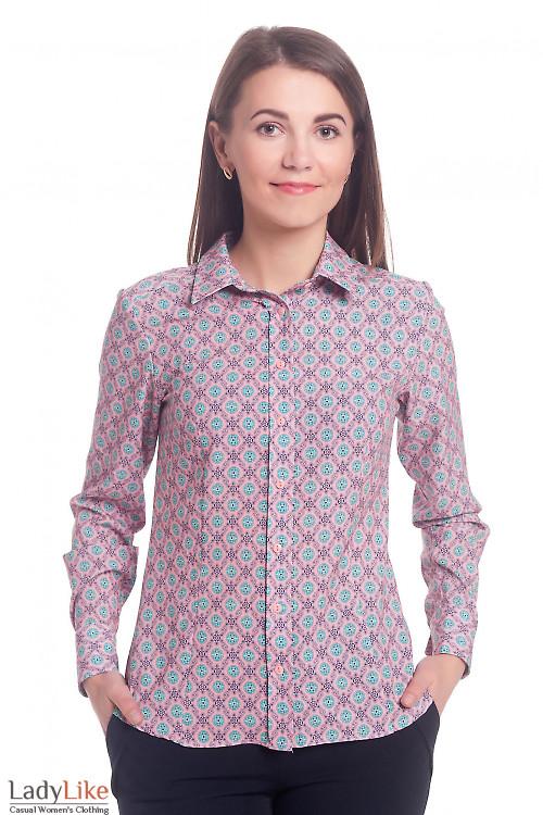 Блузка розовая в бирюзовые ромашки Деловая женская одежда