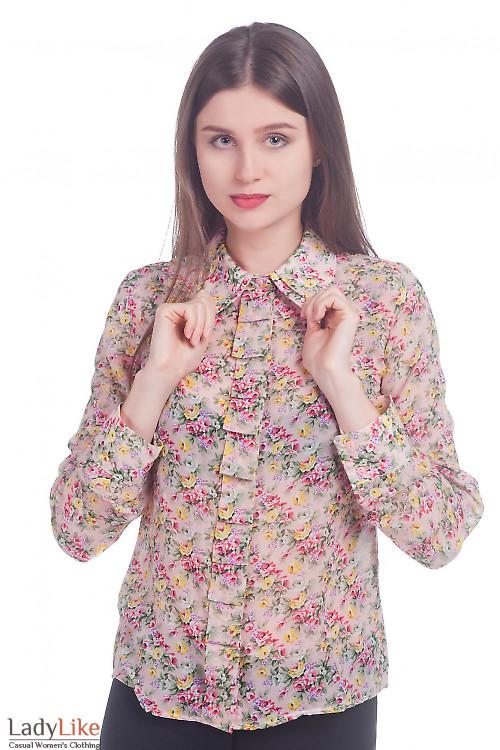 Фото Блузка розовая в цветы из шифона Деловая женская одежда