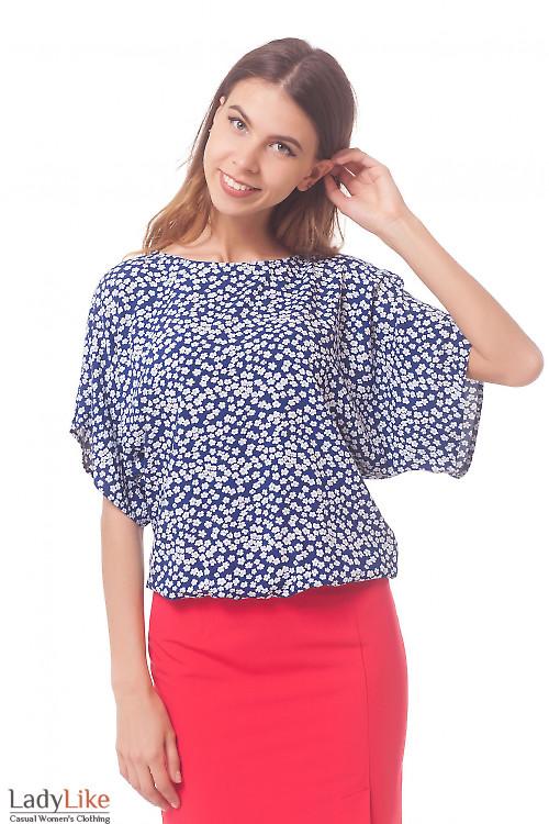 Блузка в ромашки из штапеля Деловая женская одежда