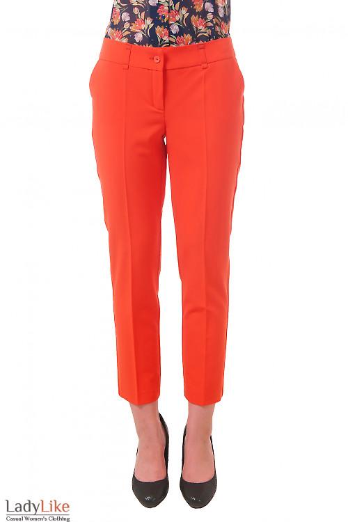 Фото Брюки укороченные оранжевые Деловая женская одежда