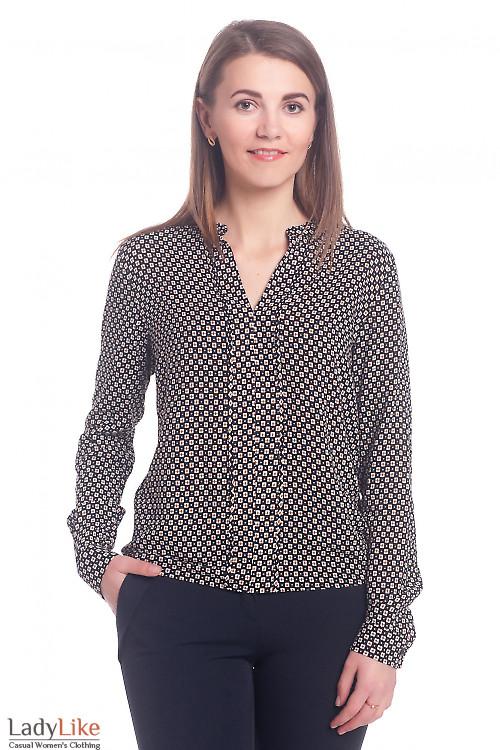 Черная блузка в мелкий коричневый ромб Деловая женская одежда