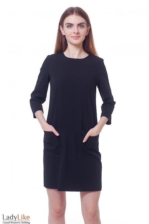 Платье черное с накладными карманами Деловая женская одежда