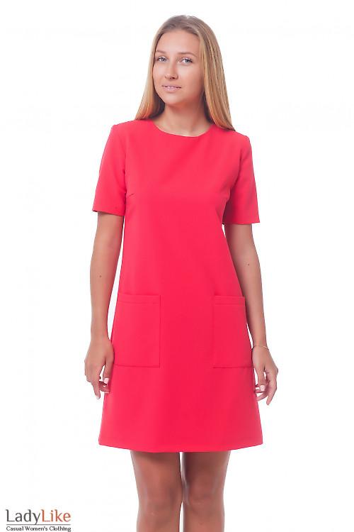 Платье красное с накладными карманами Деловая женская одежда