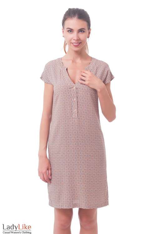 Платье прямое в мелкий коричневый узор Деловая женская одежда