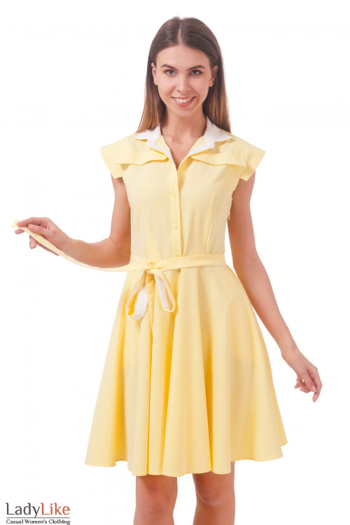 Фото Платье пышное желтое Деловая женская одежда